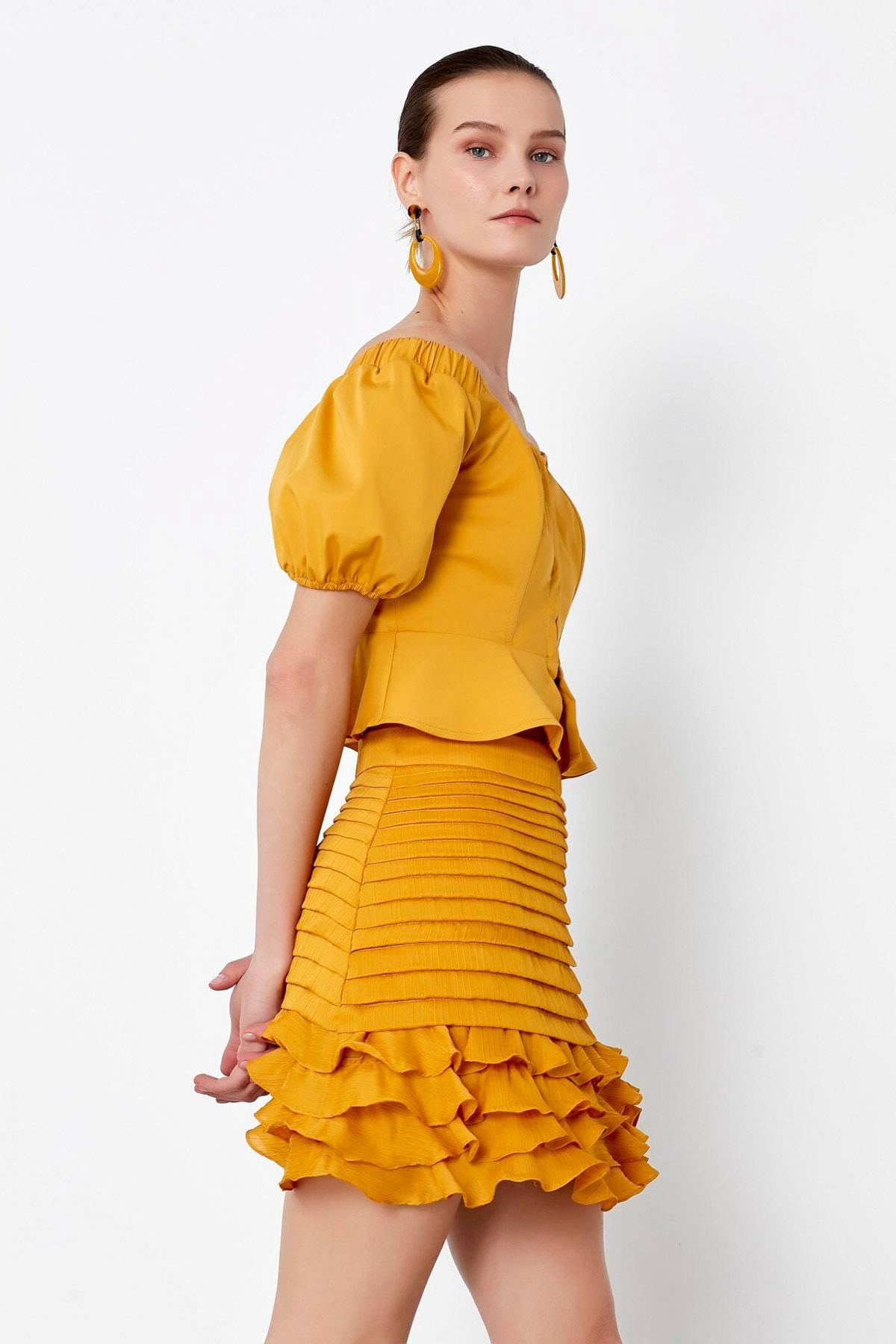İpekyol Kadın Sarı Fırfır Şeritli Etek IS1200004148024 2