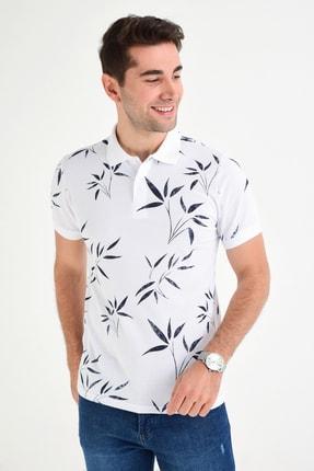 DYNAMO Erkek Beyaz Polo Yaka Baskılı T-shirt T481