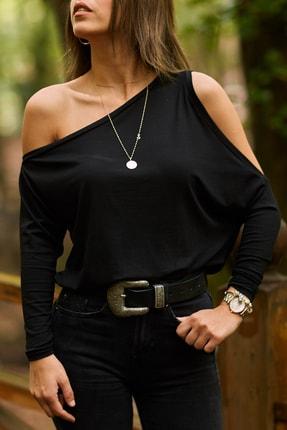 XHAN Kadın Siyah Omuz Detaylı Bluz  9KXK2-41651-02