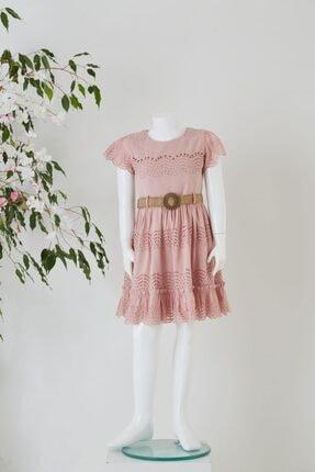 Pafim Çocuk Pembe Yarım Kol Dantel Elbise