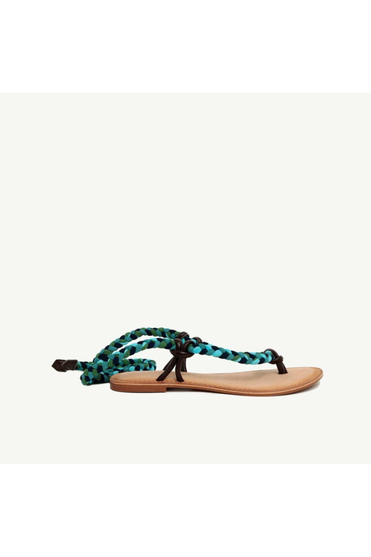 Yargıcı Kadın Çok Renkli Kumaş Bağlamalı Deri Sandalet 9YKAY4029X 1