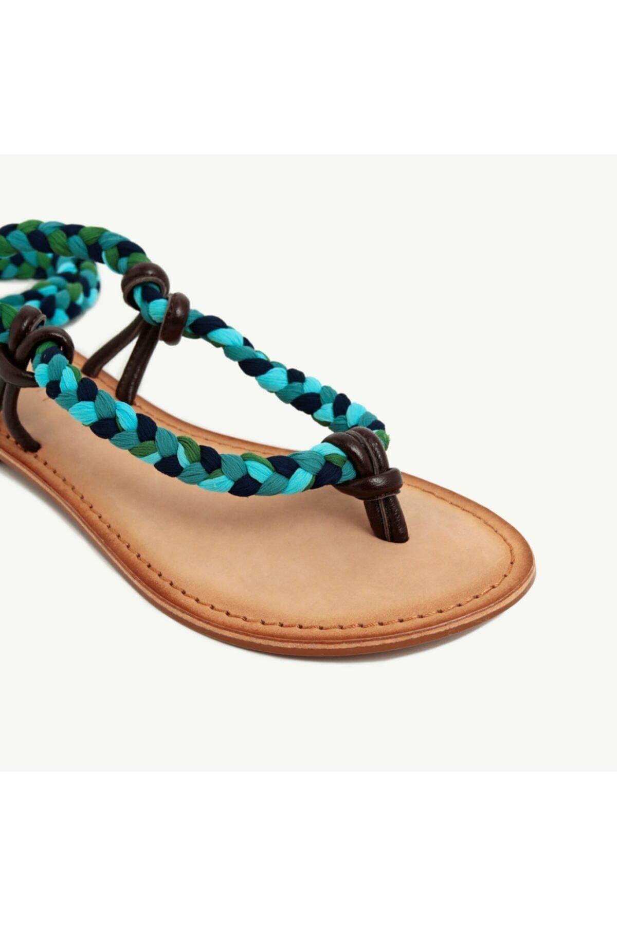 Yargıcı Kadın Çok Renkli Kumaş Bağlamalı Deri Sandalet 9YKAY4029X 2