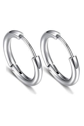 Kravatkolik Gümüş Renk Çember Unisex Çelik Küpe Ear08
