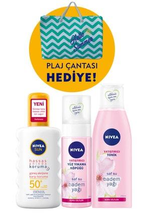 Nivea Hassas Koruma Güneş Spreyi Spf50+ 200 ml & Hassas Yüz Temizleme Köpüğü & Hassas Tonik & Plaj Çantası