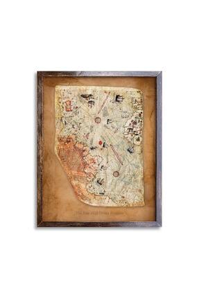 Sticker Sepetim Piri Reis 1513 Vintage Çerçeveli Dünya Haritası Ahşap Tablo