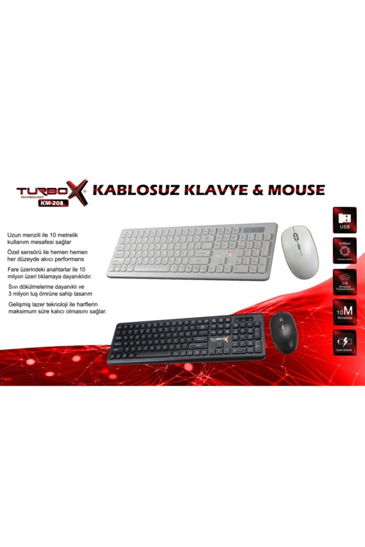 TURBOX Km-20 Black Wireless Multimedya Tr Q Klavye Mouse Set Siyah 2