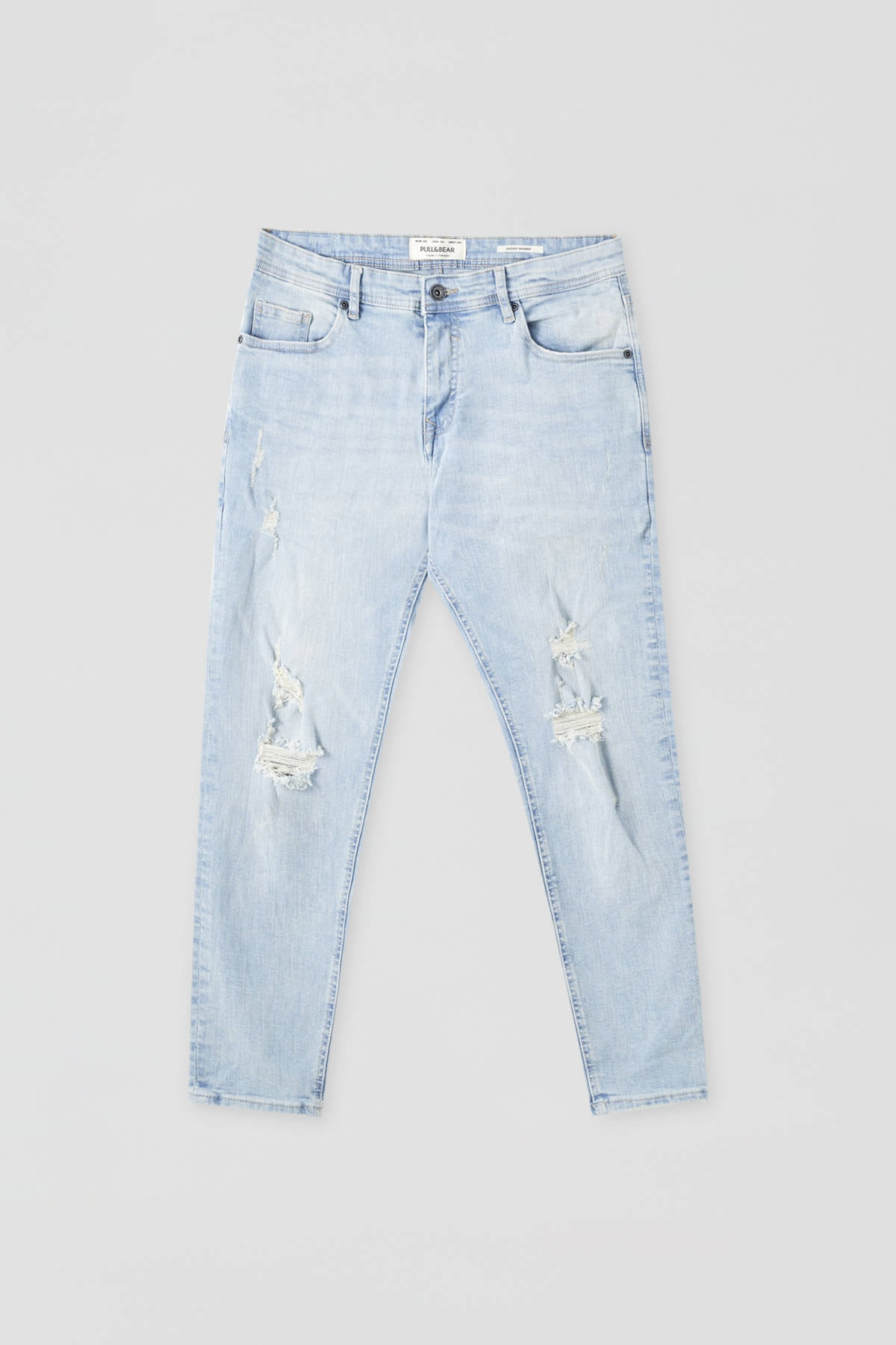 Pull & Bear Erkek Açık İndigo Distressed Detaylı Basic Super Skinny Fit Jean 09683500