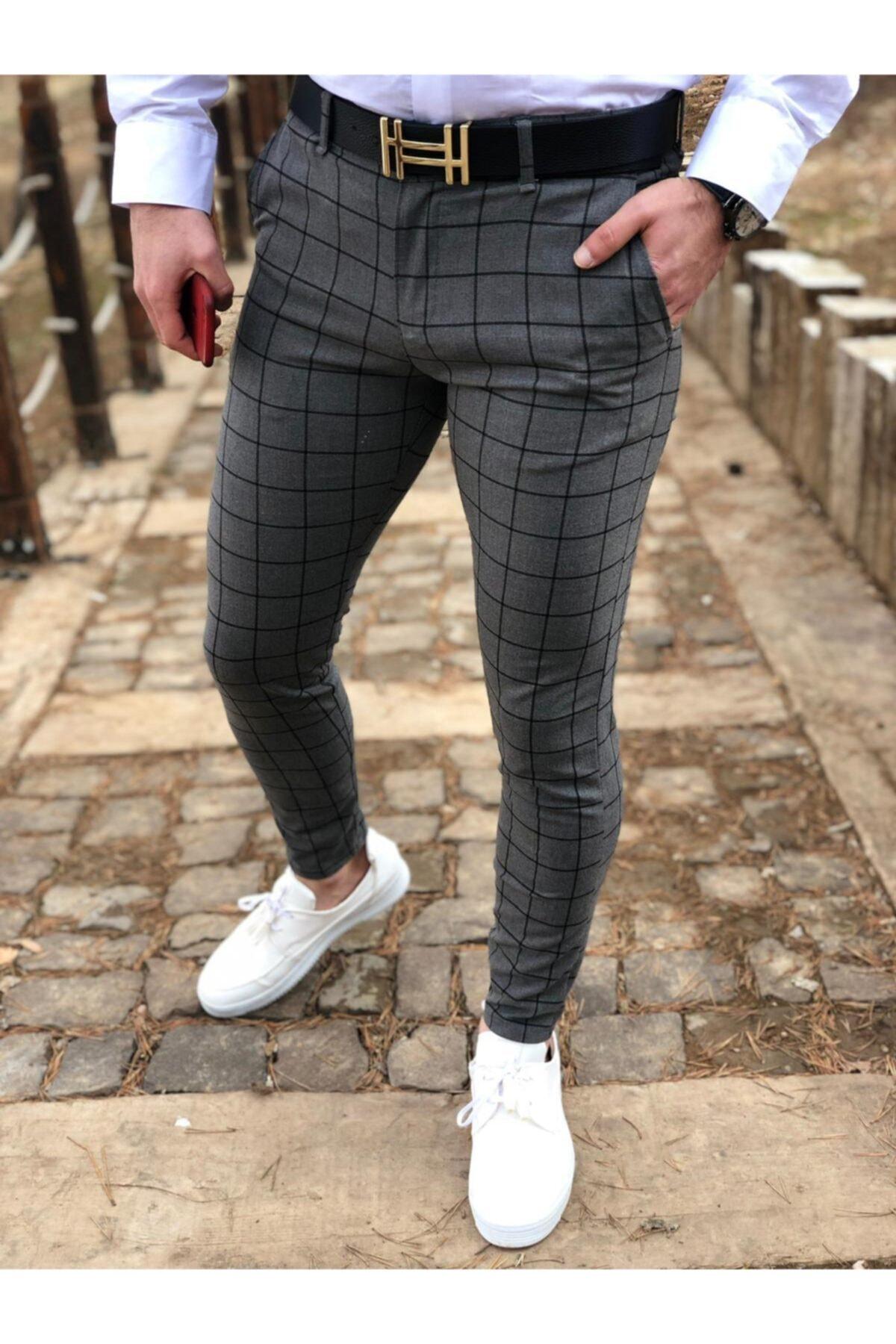 dj plus Slimfit Kesim Ekose Kumaş Pantolon 1