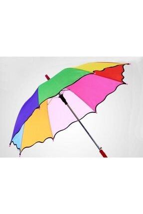 İstocToptan Baston Gökkuşağı Renk Çocuk Şemsiyesi, Dekor Şemsiyesi Küçük