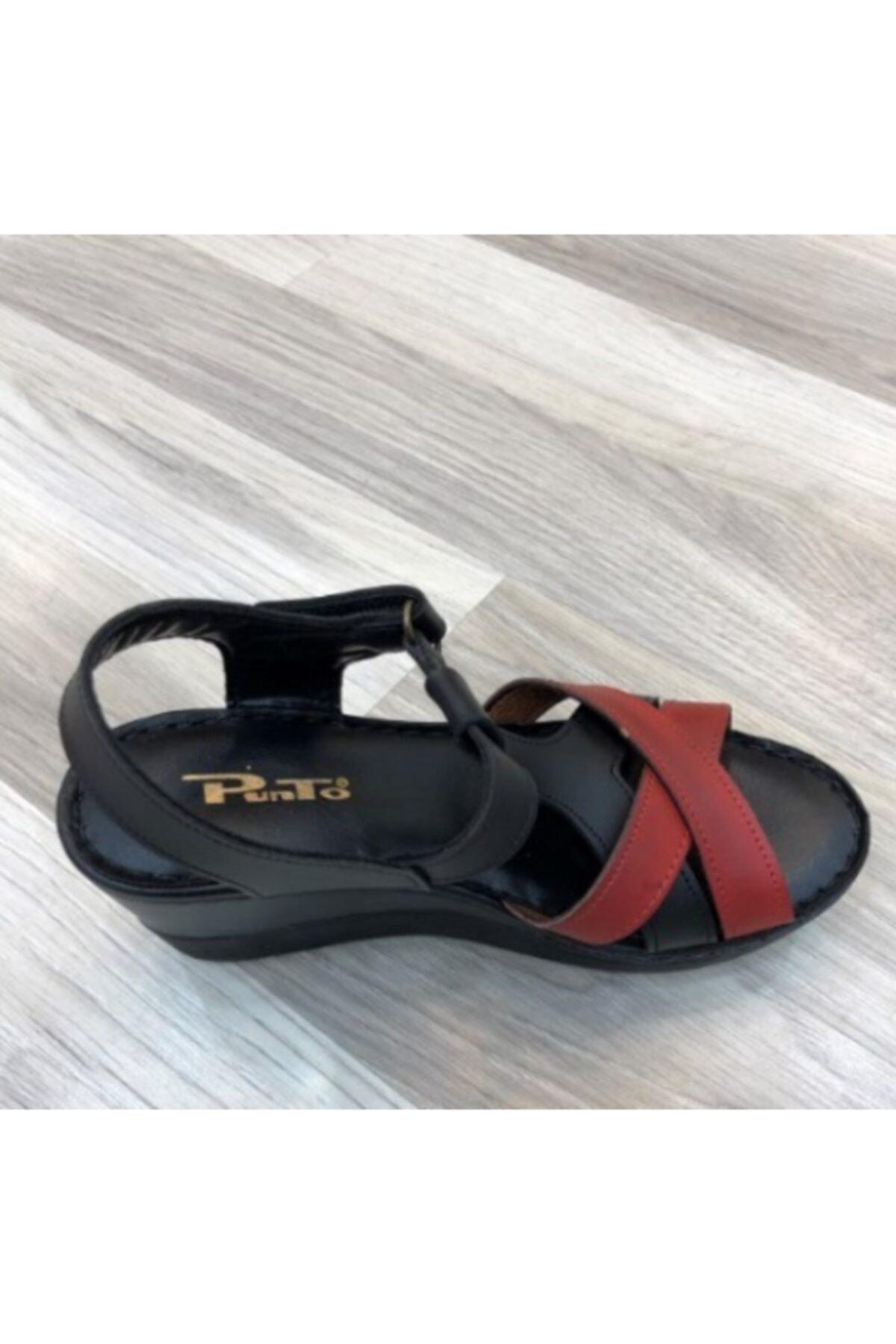 PUNTO 390101 Kadın Dolgu Topuk Sandalet 2