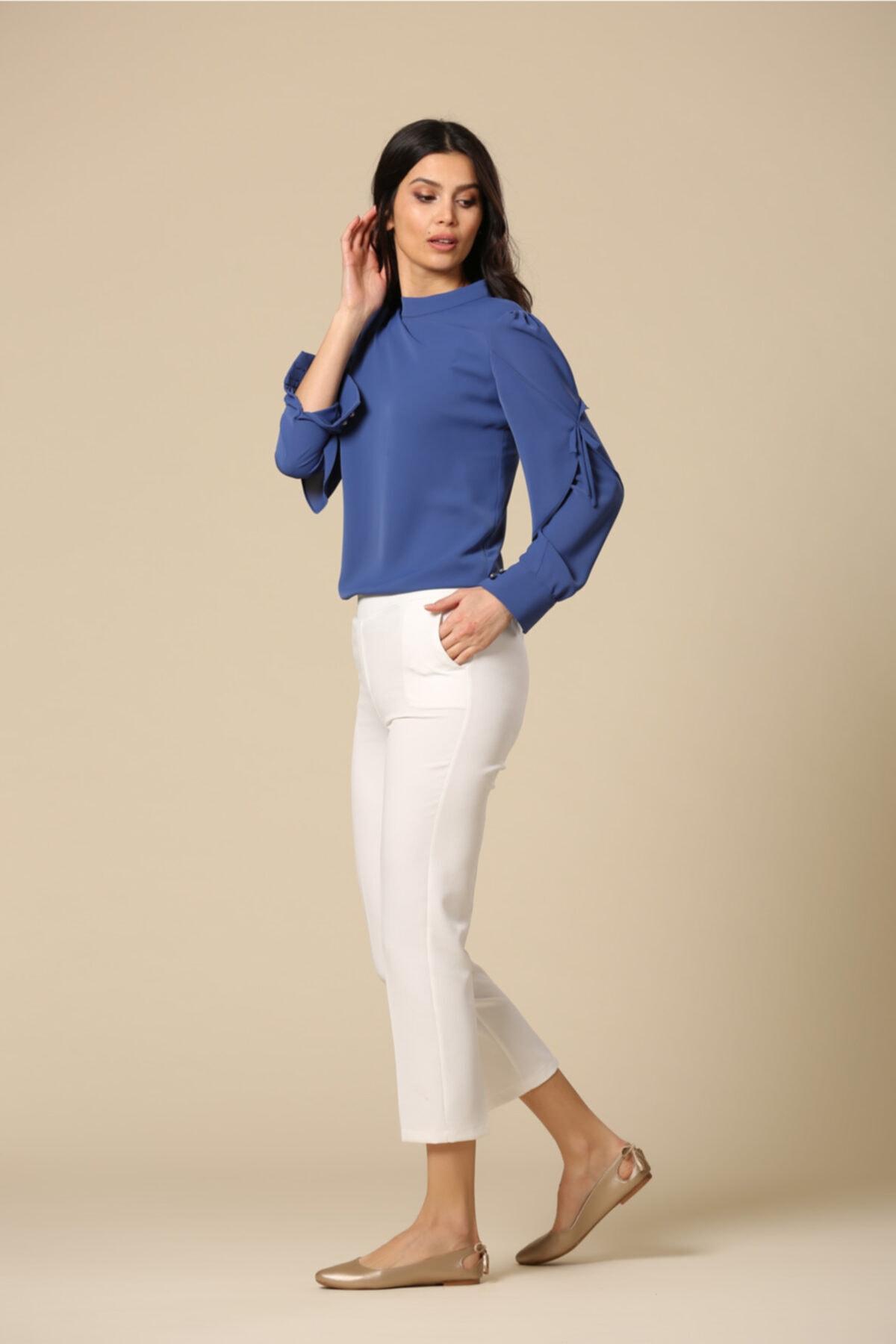 EMBENUR Kadın Ekru Pantolon 1015 1