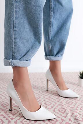 Limoya Kadın Beyaz Olive Beyaz Kırışık Deri Rugan Stiletto Ayakkabı