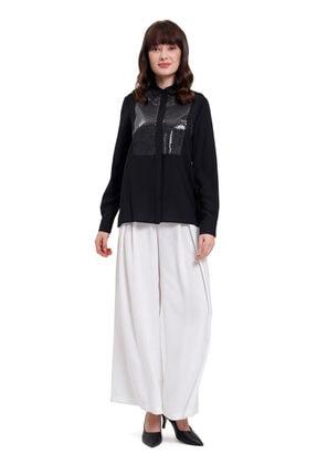 Mizalle Mızalle Önü Pul Işlemeli Gömlek Bluz (siyah)