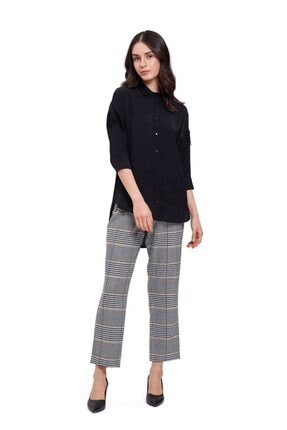 Mizalle Mızalle Dantel Detaylı Gömlek Bluz (siyah)