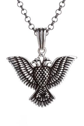 Anı Yüzük Çift Kartal Başlı 925 Ayar Gümüş Erkek Kolye Kalın Zincirli