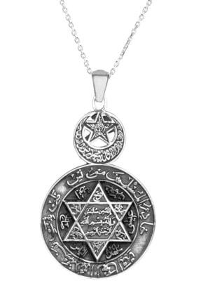 Anı Yüzük 925 Ayar Gümüş Ay Yıldızlı Mührü Süleyman Bayan Kolye Gümüş Renk