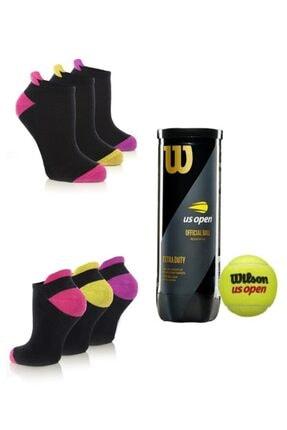 MURR Kadın Profesyonel Tenis Çorabı 3'lüpaket Pamuklu 1 Kutu Wilson Us Open 3'lü Tenis Topu
