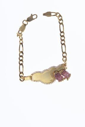 Ninova Silver Altın Kaplama Pembe Ayaklı Gümüş Çocuk Bilekliği NNVSLVR02363