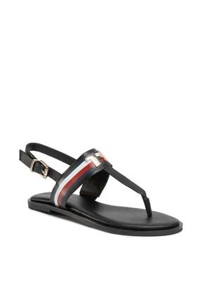 Tommy Hilfiger Kadın Corporate Deri Flat Sandalet FW0FW04840