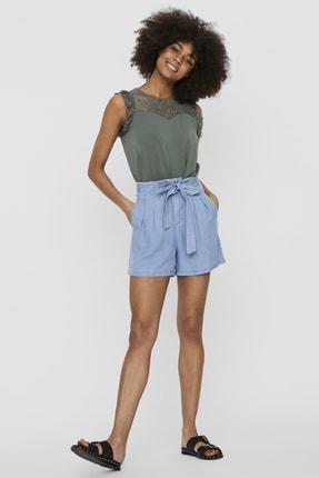 Vero Moda Kadın Mavi Beli Kuşaklı Rahat Kesim Tencel Şort 10209543 VMMIA