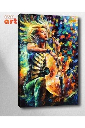 Cadde Yayınları Af56 Çello Çalan Kadın Kanvas Tablo 70x100cm