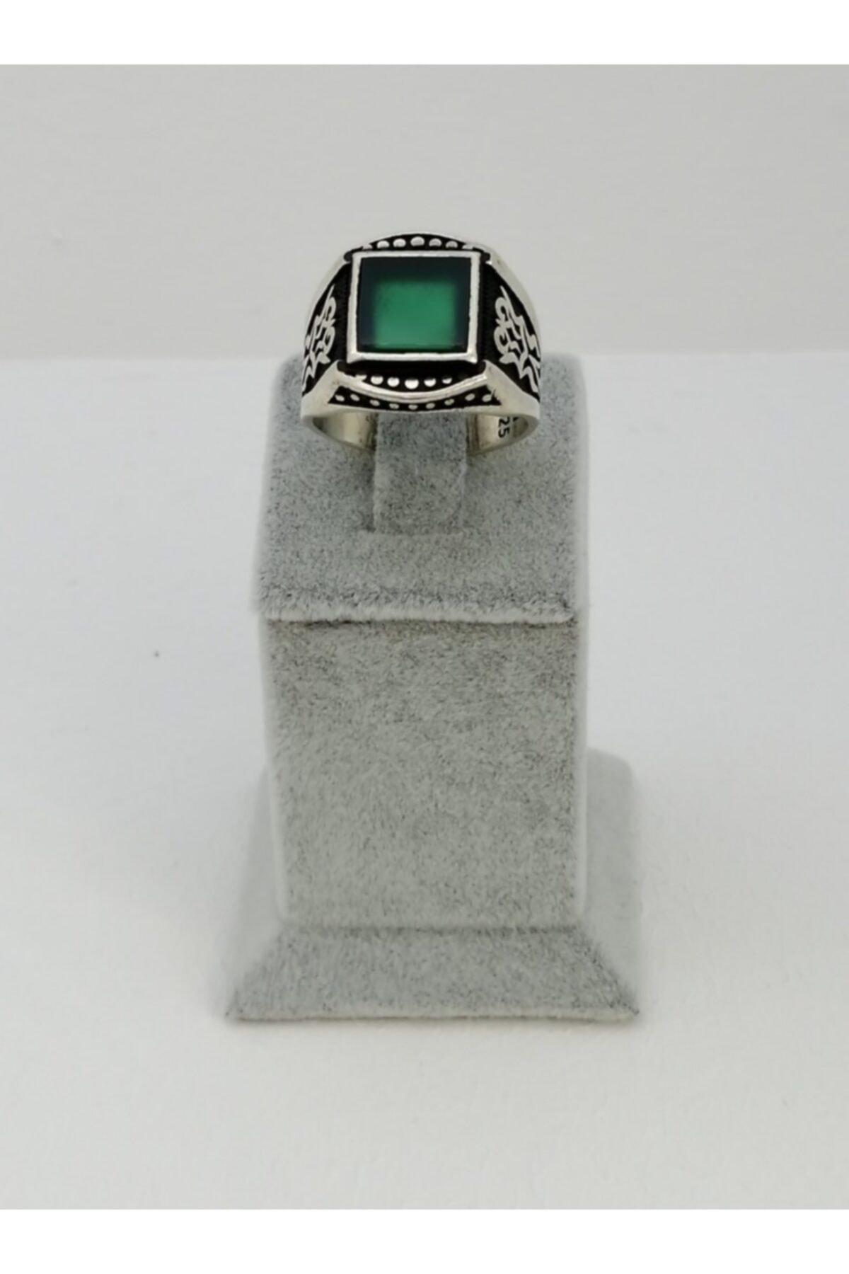 Caran d'Ache Özel Tasarım Özel Işçilik 925 Ayar Gümüş Yeşil Akik Taş Detaylı Yüzük 2