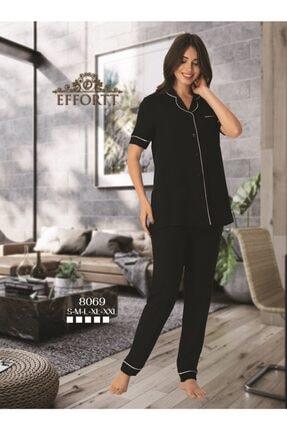 Effort Pijama Effortt 8069 Siyah Kısa Kol Önden Düğmeli Pijama