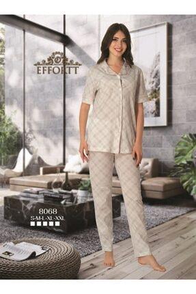 Effort Pijama Effortt 8068 Pembe Detaylı Kısa Kol Önden Düğmeli Pijama