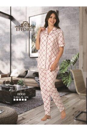 Effort Pijama Effortt 8068 Bordo Detaylı Kısa Kol Önden Düğmeli Pijama