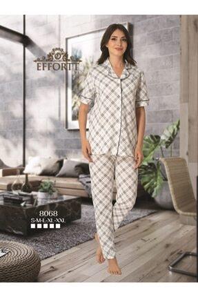 Effort Pijama Effortt 8068 Siyah Detaylı Kısa Kol Önden Düğmeli Pijama