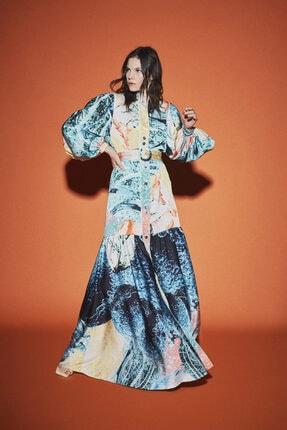 Latifa Kadın Yeşil Rayan Dijital Baskılı Elbise