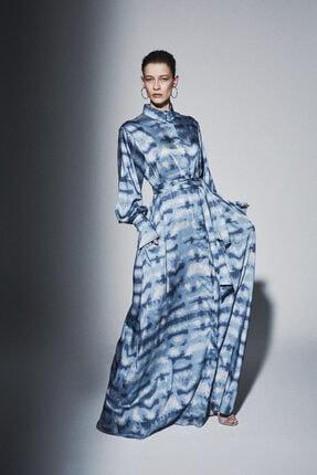 Latifa Kadın Mavi Madsen Dijital Baskılı Elbise Havacı