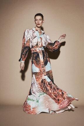 Latifa Kadın Kahverengi Rayan Dijital Baskılı Elbise Tarçın