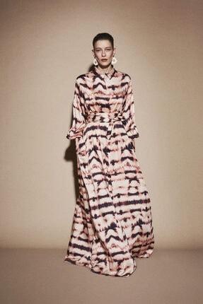 Latifa Kadın Kahverengi Madsen Dijital Baskılı Elbise