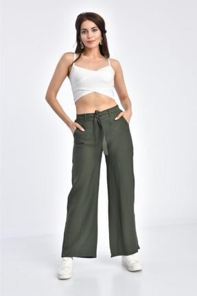 Modkofoni Haki Pantolon Belden Lastikli Kuşaklı Bol Paça Haki Keten Pantolon