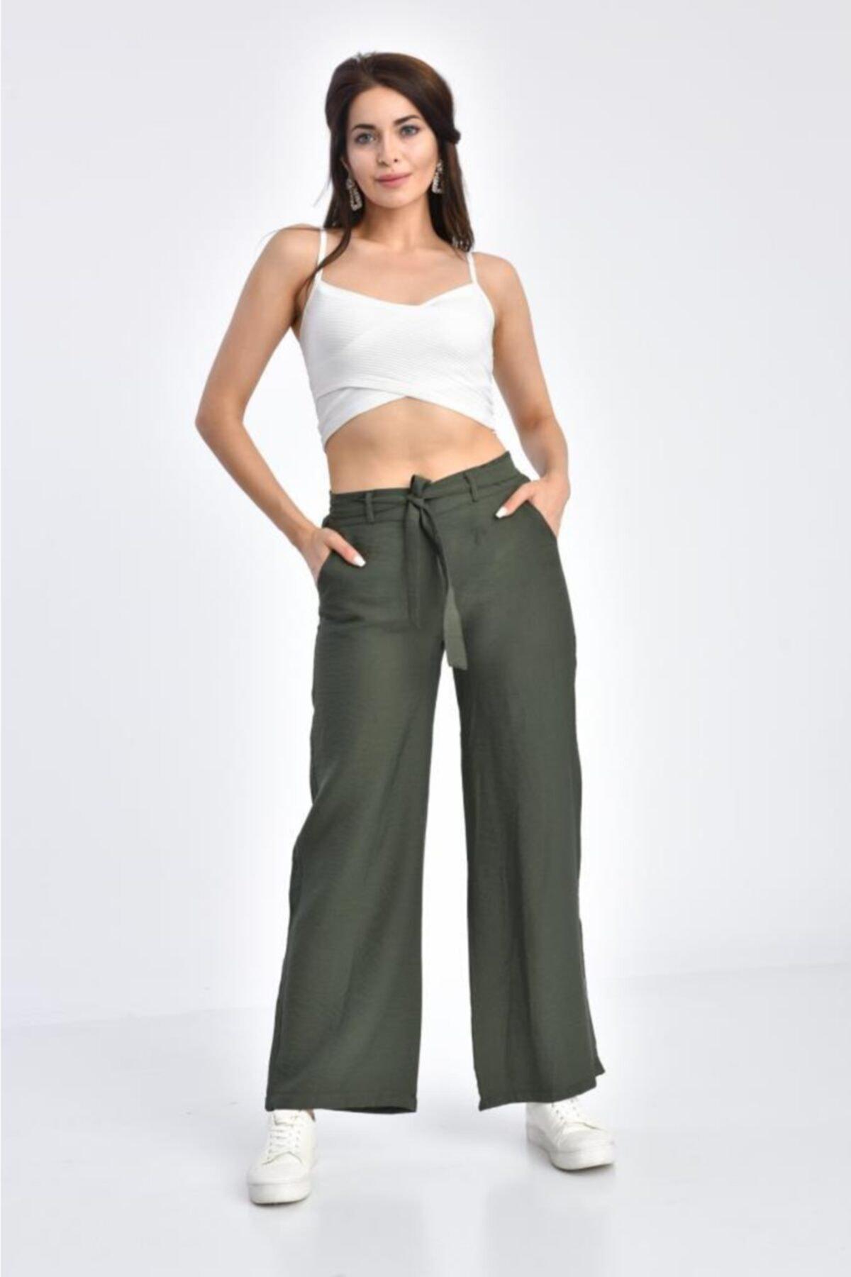 Modkofoni Haki Pantolon Belden Lastikli Kuşaklı Bol Paça Haki Keten Pantolon 1