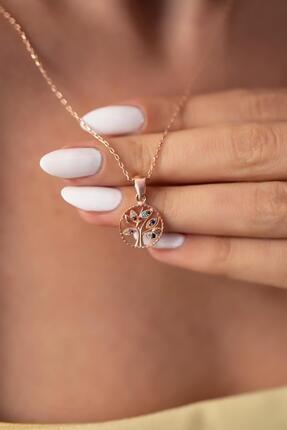 İzla Design Kadın Hayat Ağacı Model Mix Taşlı Rose Kaplama Gümüş Kolye PKT-İZLASLVR00697