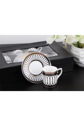 Gönül Kolat Gönül Kahve Takımı Gold Siyah Motifli G2149