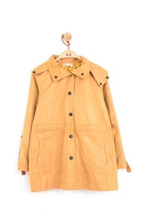 NK Kız Çocuk Sarı Kapüşonlu Kolları Kısa Kullanımlı Trençkot