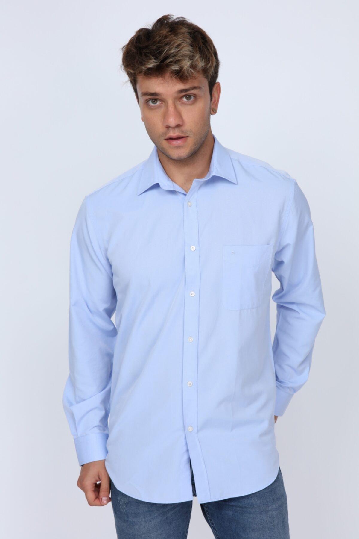 Abbate Erkek Açık Mavi  Club Kumaş Detaylı Regular Fit Gömlek 1