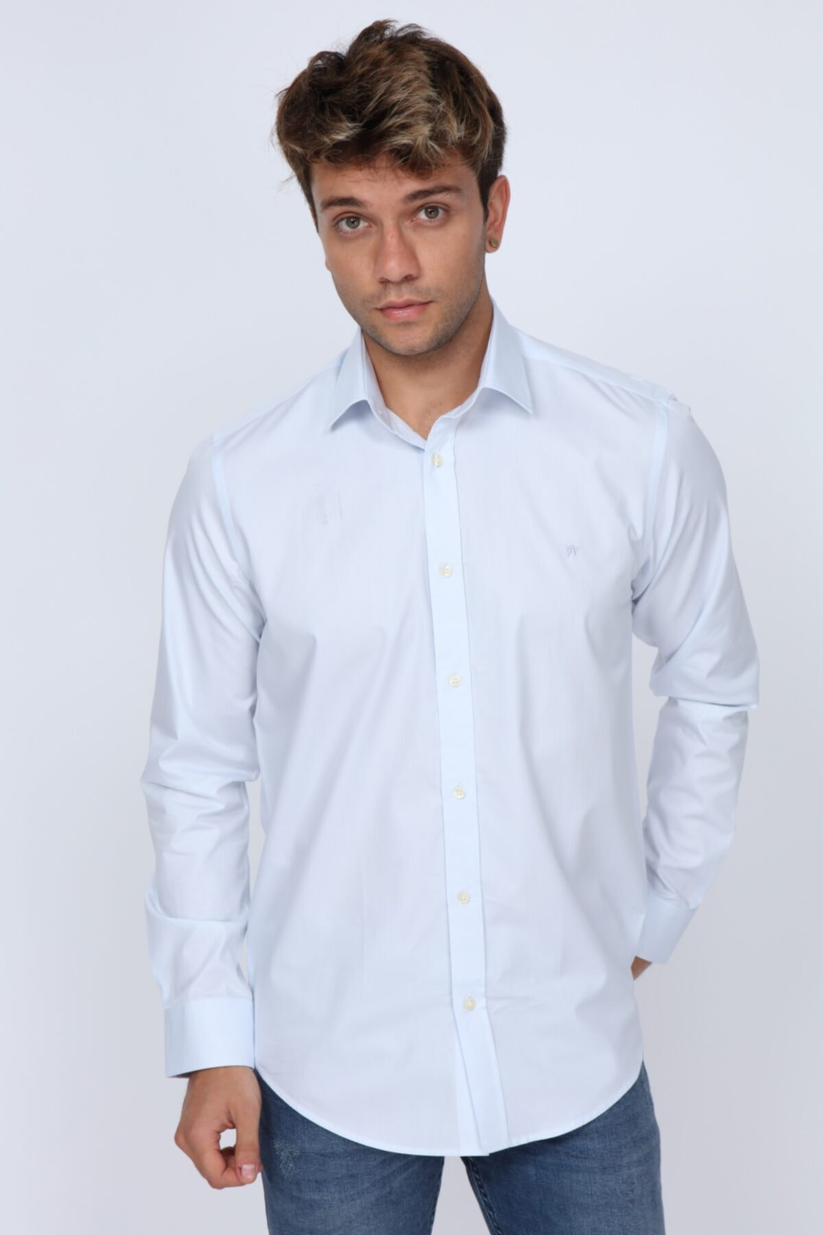 Abbate Slim Fit Buz Mavi Erkek Gömlek (mikro Kumaş Detay) 1