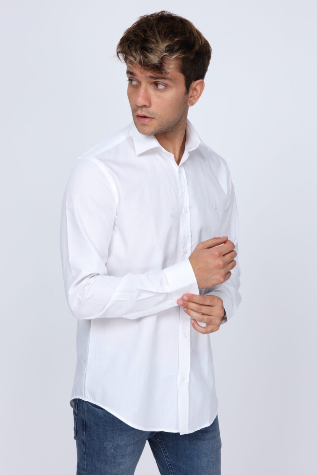 Abbate Mikro Kumaş Detaylı Beyaz Slim Fit Erkek Gömlek 2