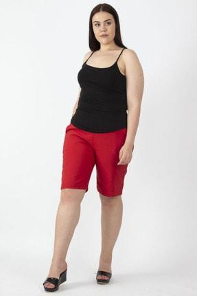 Şans Kadın Kırmızı Likralı Bengalin Kumaş Şort 65N16637