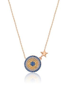 Papatya Silver 925 Ayar Rose Altın Yıldızlı Gümüş Nazar Kolye