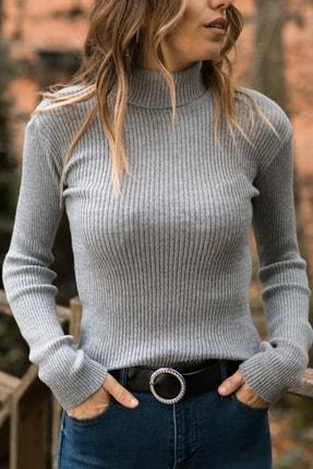 XHAN Kadın Gri Gri Balıkçı Yaka Kazak 9YXK6-41552-03