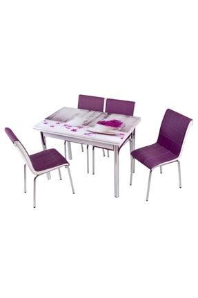 messline 4 Sandalyeli Açılabilir Cam Mutfak Masa Takımı Vazo