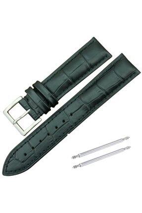 Trendburada 22mm Siyah Renk Croco Baskılı Deri Saat Kordonu Kayışı