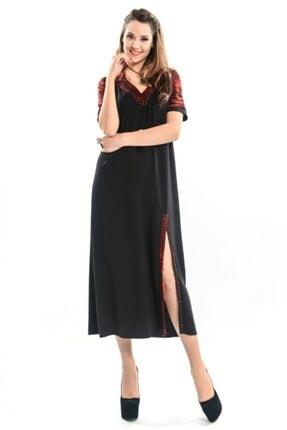 Etnik Esintiler Kadın Siyah Kısa Kol V Yaka Peçli Uzun Elbise 9997