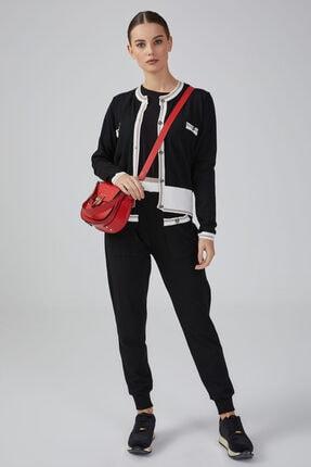 Gusto Paçası Ribanalı 2 Cepli Gold Detaylı Triko Pantolon - Siyah