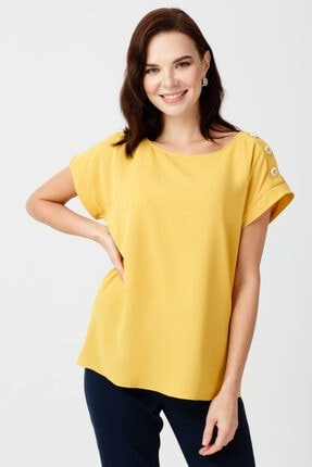 Ekol Omzu Düğme Detaylı Bluz